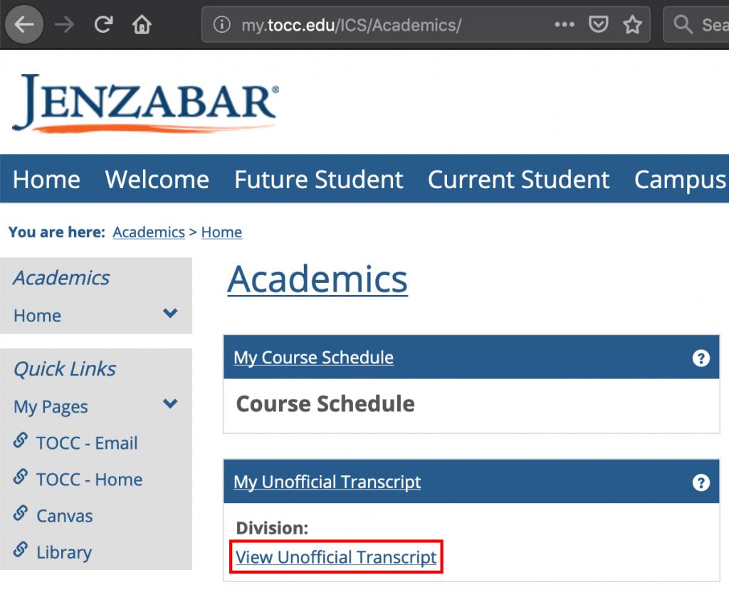 Unofficial transcripts on Jenzabar